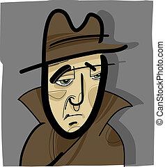 chapéu, ilustração, homem