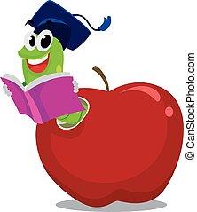 chapéu, maçã, graduação, verme