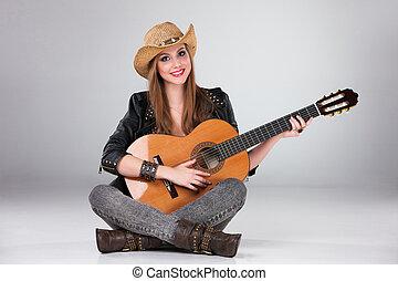 chapéu, menina, bonito, cowboy's, acústico, guitar.