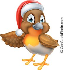 chapéu natal, caricatura, santa, robin