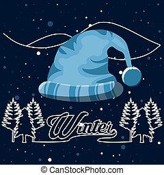 chapéu natal, paisagem inverno, cena