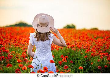 chapéu, pôr do sol, mulher, papoula, campo, tcheco, ficar, desfrutando, república