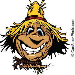 chapéu palha, feliz, espantalho, rosto