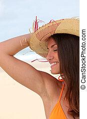 chapéu palha, mulher, praia