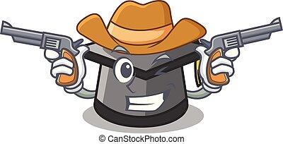 chapéu, personagem, caricatura, graduação, boiadeiro