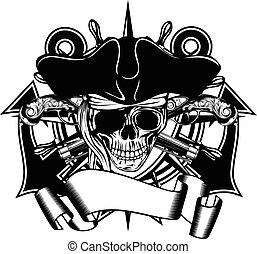 chapéu, pirata, cranio, cocked