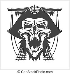 chapéu, pirata, cranio
