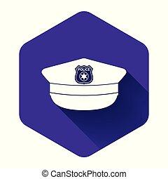 chapéu, polícia, ícone, ilustração, roxo, button., shadow., vetorial, sinal., boné, longo, cockade, hexágono, isolado, branca