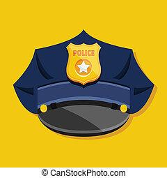 chapéu, polícia, vetorial
