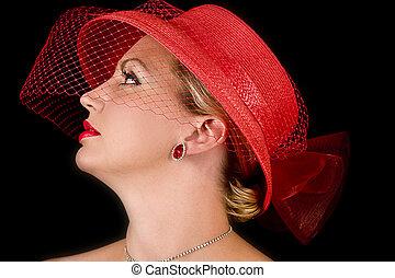 chapéu, senhora, retro