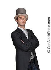 chapéu, topo, caudas, homem