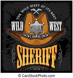 chapéu vaqueiro, e, xerifes, estrela, -, vetorial, emblema,...