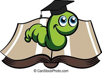 chapéu, vetorial, verde, bookworm
