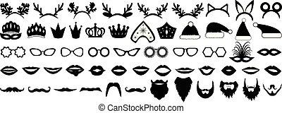chapéus, barba, illustration., kokoshnik, foto, set., lábios, óculos, novo, coroa, vetorial, barraca, (christmas), ano, partido, mask., props., antler