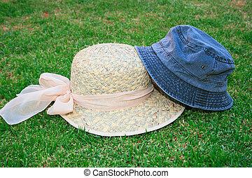 chapéus, capim