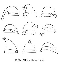 chapéus, claus, desenho, santa, linha, chapéu, natal, set.