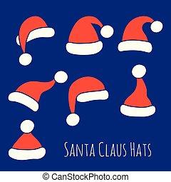 chapéus, claus, jogo, santa