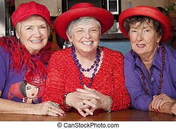 chapéus exaustivos, três, sênior, vermelho, mulheres