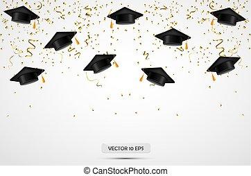 chapéus, graduação, experiência., vector., confetti., celebração