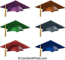 chapéus, graduado, ou, bonés