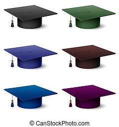 chapéus, jogo, coloridos, graduado