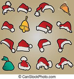 chapéus, jogo, roupa, vermelho, santa