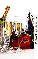chapéus partido, champanhe, máscaras, óculos