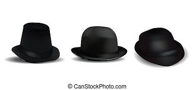 chapéus, pretas, branca, isolado