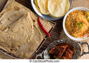 Chapati or Flat bread, roti canai, Indian food, made from...
