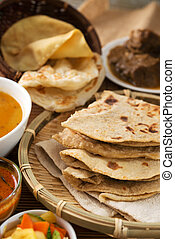Chapati or Flat bread, Indian food, made from wheat flour...