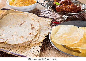 chapati, vagy, lapos kenyér, roti, canai, indian táplálék, elkészített, alapján, búza