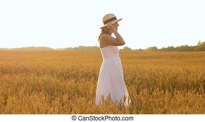 chapeau été, champ, femme, paille, céréale