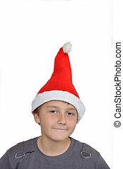 chapeau, adorable, santa, enfant