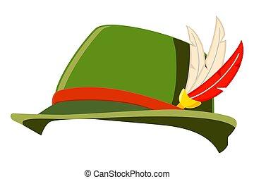 chapeau, allemand, plume, dessin animé, coloré