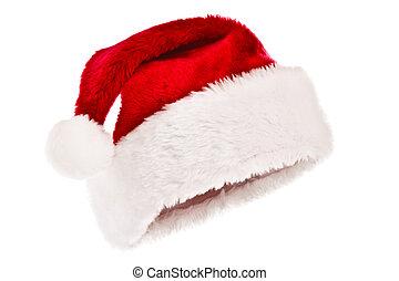 chapeau blanc, isolé, santa