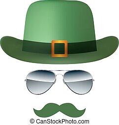 chapeau, blanc, vecteur, lunettes, isolé, fond, moustache