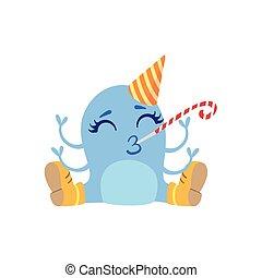 chapeau bleu, monstre, bottes, amical