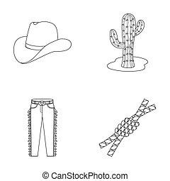 chapeau, cactus, jean, noeud, sur, les, lasso., rodéo, ensemble, collection, icônes, dans, contour, style, raster, bitmap, symbole, illustration courante, web.