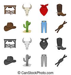 chapeau, cactus, jean, noeud, sur, les, lasso., rodéo, ensemble, collection, icônes, dans, dessin animé, style, bitmap, symbole, illustration courante, web.