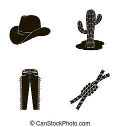 chapeau, cactus, jean, noeud, sur, les, lasso., rodéo, ensemble, collection, icônes, dans, noir, style, raster, symbole, illustration courante, web.