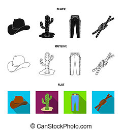 chapeau, cactus, jean, noeud, sur, les, lasso., rodéo, ensemble, collection, icônes, dans, noir, style, bitmap, symbole, illustration courante, web.