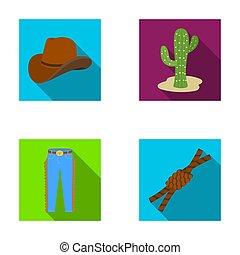 chapeau, cactus, jean, noeud, sur, les, lasso., rodéo, ensemble, collection, icônes, dans, plat, style, raster, bitmap, symbole, illustration courante, web.