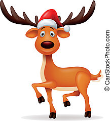 chapeau, cerf, dessin animé, rouges