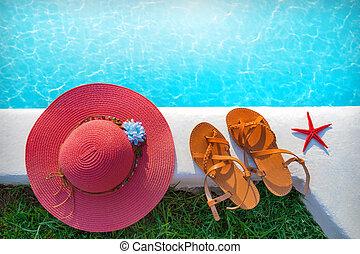 chapeau, chaussures, piscine