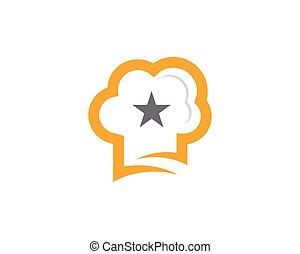 chapeau chef, étoile, gabarit, logo