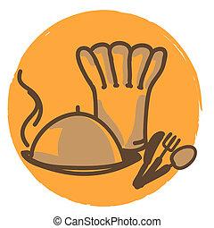 chapeau, chef cuistot, plaque