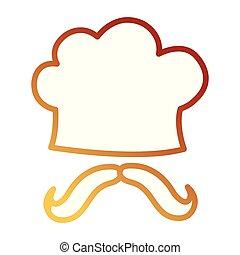 chapeau chef, moustache, uniforme