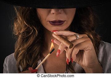 chapeau, cigare, élégant, fumer, portrait, sexy, dame