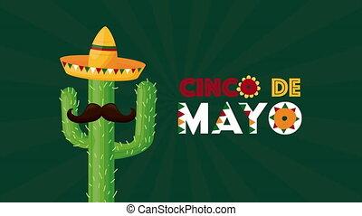 chapeau, cinco, cactus, célébration, de, mexicain, utilisation, mayonnaise