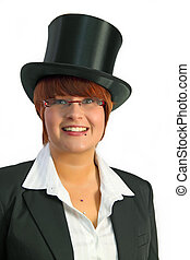 Chapeau Claque - Attractive business woman with hat a over...
